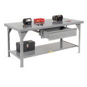 Little Giant®  7 Gauge Steel Workbench, Drawer, Fixed Height, 36 x 72