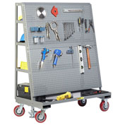 "Little Giant Mobile Pegboard with Back Shelf Storage AFPBS2460-6PYFL - 60"" x 24"", Floor Lock"
