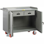 "Little Giant MB2D-2448-2DRFL  48"" W Mobile Bench Cabinets, Double Storage Drawers, 2 Doors"