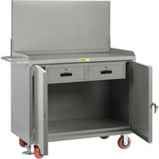 "Little Giant MB2D24482DRFLPB 48""W x 24""D Mobile Service Bench, 2 Drawers, Powder Coated Steel Top"