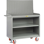 "Little Giant MB3-2448-FL-LP 48""W x 24""D Mobile Service Bench, Center Shelf, Powder Coated Steel Top"