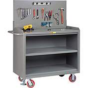 "Little Giant MB3-2448-FL-PB 48""W x 24""D Mobile Service Bench, Center Shelf, Powder Coated Steel Top"