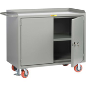 "Little Giant MB3-2D-2448-FL  48"" W Mobile Bench Cabinets, Center Shelf, 2 Locking Doors"