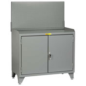Little Giant Bench Cabinet MB3-LL-2D2448PB - 48x24, Steel Top, Solid Doors, Pegboard Panel