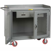 "Little Giant MBP2D2448-2DRFL  48"" W Mobile Bench Cabinets, Double Storage Drawers, 2 Doors"