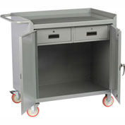 "Little Giant MC2D2436-2DRTL  36"" W Mobile Bench Cabinet, 2 Drawers, 2 Doors"