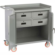 """Little Giant MC2D2436-4DRTL  36"""" W Mobile Bench Cabinet, 4 Drawers, 2 Doors"""