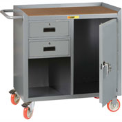 "Little Giant MCH1D2436-2DRTL  36"" W Mobile Bench Cabinet, 2 Drawers, 1 Door, Hardboard Top"