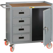 "Little Giant MCH1D2436-4DRTL  36"" W Mobile Bench Cabinet, 4 Drawers, 1 Door, Hardboard Top"