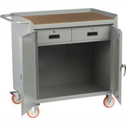 "Little Giant MCH2D2436-2DRTL  36"" W Mobile Bench Cabinet, 2 Drawers, 2 Doors, Hardboard Top"