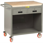 "Little Giant MCJ-2436-2DRTL  36"" W Mobile Bench Cabinet, 2 Drawers, Butcher Block Top"