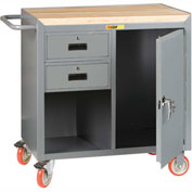 "Little Giant MCJ1D2436-2DRTL  36"" W Mobile Bench Cabinet, 2 Drawers, 1 Door, Butcher Block Top"