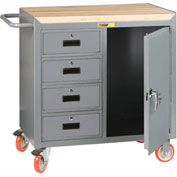"Little Giant MCJ1D2436-4DRTL  36"" W Mobile Bench Cabinet, 4 Drawers, 1 Door, Butcher Block Top"