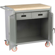 "Little Giant MCJ2D2436-2DRTL  36"" W Mobile Bench Cabinet, 2 Drawers, 2 Doors, Butcher Block Top"