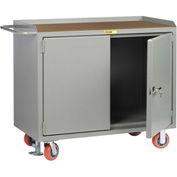 "Little Giant MH-2D-2448-FL  48"" W Mobile Bench Cabinets,  Hardboard Top, 2 Doors"