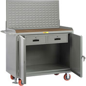 """Little Giant MH2D24482DRFLLP 48""""W x 24""""D Mobile Service Bench, 2 Drawers, 1/4"""" Hardboard Top"""
