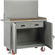 "Little Giant MH2D24482DRFLPB 48""W x 24""D Mobile Service Bench, 2 Drawers, 1/4"" Hardboard Top"