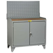 Little Giant Bench Cabinet MH3-LL-2D2448LP - 48x24, Hardboard Top, Solid Doors, Louvered Panel