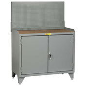 Little Giant Bench Cabinet MH3-LL-2D2448PB - 48x24, Hardboard Top, Solid Doors, Pegboard Panel