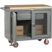 "Little Giant MHP2D-2448-HDFL  48"" W Mobile Bench Cabinets, Heavy-Duty Drawer, 2 Clear View Doors"