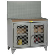 Little Giant Bench Cabinet MHP3LL-2D2448PB - 48x24, Hardboard Top, Clearview Doors, Pegboard Panel
