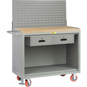 "Little Giant MJ-2448-2DRFLLP 48""W x 24""D Mobile Service Bench, 2 Drawers, Butcher Block Top"