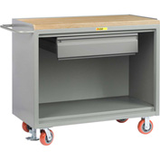 "Little Giant MJ-2448-HDFL  48"" W Mobile Bench Cabinets, Heavy-Duty Drawer, Butcher Block Top"