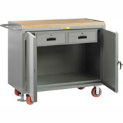 "Little Giant MJ2D-2448-2DRFL  48"" W Mobile Bench Cabinets, Double Storage Drawers, 2 Doors"