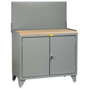 Little Giant Bench Cabinet MJ3-LL-2D2448PB - 48x24, Butcher Block Top, Solid Doors, Pegboard Panel