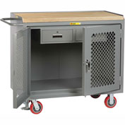 "Little Giant MJP2D2448-2DRFL  48"" W Mobile Bench Cabinets, Double Storage Drawers, 2  Doors"