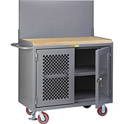 "Little Giant MJP3-2D-FL-PB 48""W x 24""D Mobile Workbench, Center Shelf, Butcher Block Top"