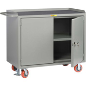 "Little Giant MM3-2D-2448-FL  48"" W Mobile Bench Cabinets, Center Shelf, 2 Locking Doors"