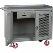 "Little Giant MMP2D2448-2DRFL  48"" W Mobile Bench Cabinets, Double Storage Drawers, 2  Doors"