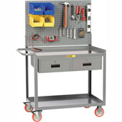 """Little Giant® Mobile Workstation MW2436-5TL2DRPB With Pegboard Panel 24"""" x 36"""" 2 Drawer"""