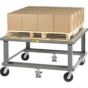 Little Giant® Ergonomic Adj. Height Pallet Stand PDSE4848 - Solid Deck 48 x 48 with Floor Locks