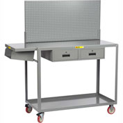 Little Giant® Work Height Mobile Workstation QC2436-TL2DRPB With Pegboard Panel 24x36 2 Drawers