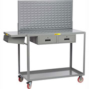 Little Giant Work-Height Mobile Workstation QC2460-TL2DRLP - Writing Shelf, Drawers, Louvered, 60x24