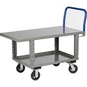 Little Giant® Work Height Platform Truck RNB2-2448-6MR-AH with Lower Shelf 24 x 48 Adj. Height