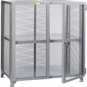 "Little Giant® Welded Storage Locker w/Adjustable Center Shelf, Mesh Sides, 61""W x 27""D x 52""H"