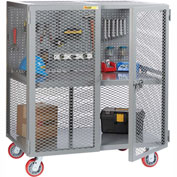 "Little Giant Mobile Tool Security Cabinet SC1-2460-6PY-PB - 60"" x 24"", Pegboard Panel,1 Center Shelf"