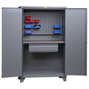 Little Giant Louvered Cabinet Work Center SSW-2460-HD-LP - Hardboard Work Surface - 60x24-1/4x78