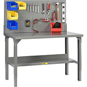 "Little Giant WA-2860-LP 60""W x 28""D Welded Workbench with Backstops and Adj. Height"