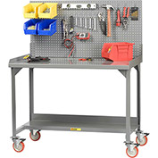 "Little Giant WM-2848-LP 48""W x 28""D Mobile Welded Workbench with Backstops and Louvered Panel"