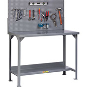 "Little Giant WST2-3072-36-PB 72""W x 30""D Fixed Height Workbench, Lower Shelf, Pegboard Panel"