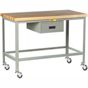 "Little Giant WT-2424-3R-DR Mobile Butcher Block Top Tables, 24"" x 24"", Drawer"