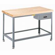 "Little Giant WT-3072-LL-DR 72""W x 30""D Butcher Block Top Tables, Drawer"