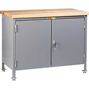 "Little Giant WTC-2D-2436-LL 36""W x 24""D Work Center Cabinet with Butcher Block Top"