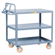 Little Giant® Ergonomic Welded Shelf Truck 3ERLG-2436BRK, 2 Flush Shelves, 24 x 36