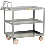 Little Giant® Ergonomic Welded Shelf Truck 3ERLGL-2436BRK, 3 Lip Shelves, 24 x 36