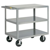 Little Giant® HD Welded Shelf Truck 3G-3048-6PHBK, 3 Flush Shelves, 30 x 48